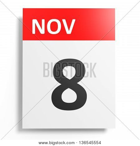 Calendar On White Background. 8 November.
