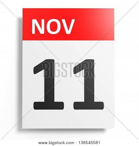 Calendar On White Background. 11 November.