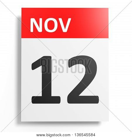 Calendar On White Background. 12 November.
