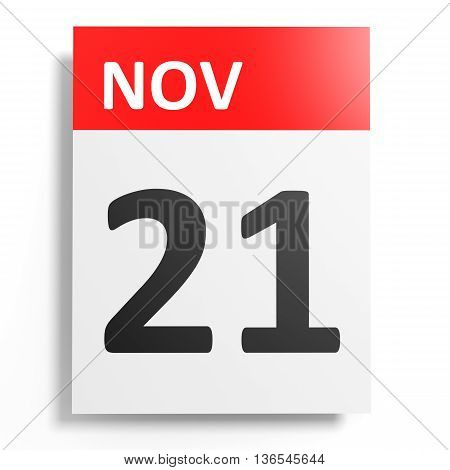 Calendar On White Background. 21 November.