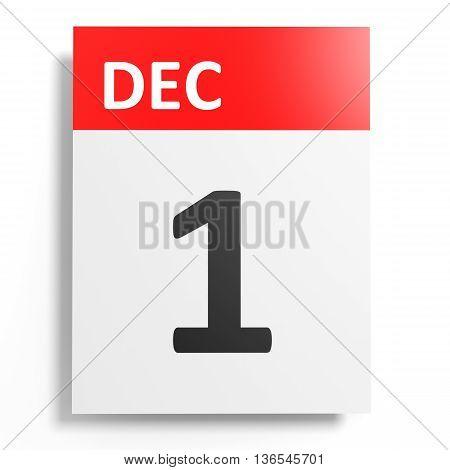 Calendar On White Background. 1 December.