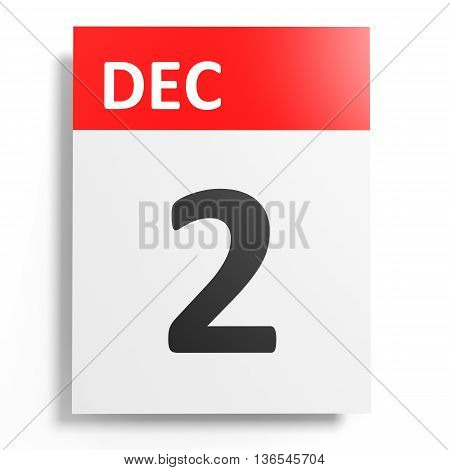 Calendar On White Background. 2 December.