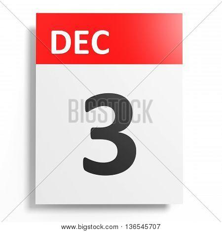 Calendar On White Background. 3 December.