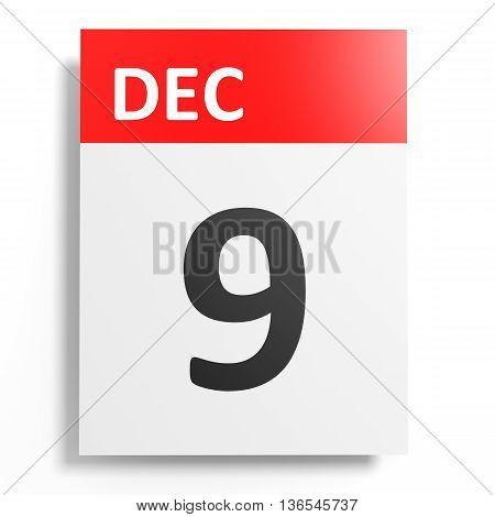 Calendar On White Background. 9 December.