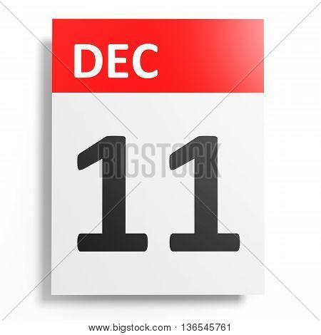 Calendar On White Background. 11 December.