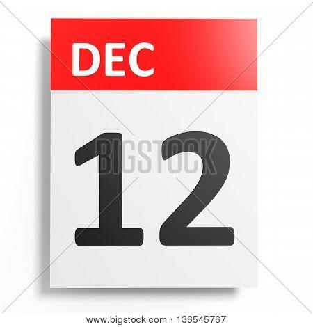 Calendar On White Background. 12 December.