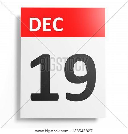 Calendar On White Background. 19 December.