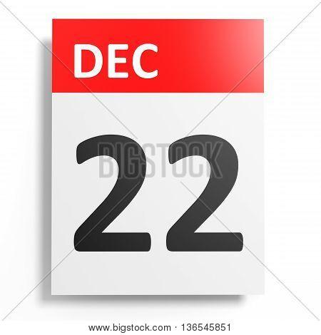 Calendar On White Background. 22 December.