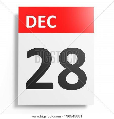 Calendar On White Background. 28 December.