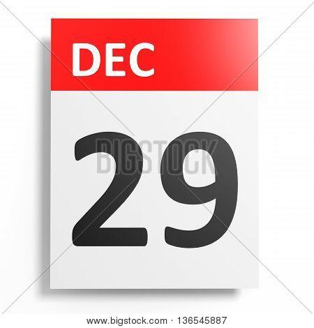 Calendar On White Background. 29 December.