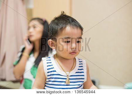 Close up portrait of Asian boy , thailand