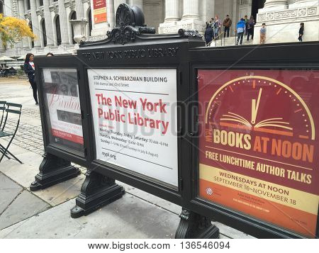 NEW YORK, USA - November, 2015. The New York City Public Library is the second largest library in the United States and the 4th largest library in the world, and has nearly 53 million items.