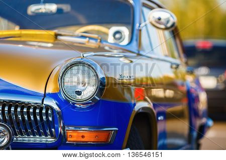 MINSK BELARUS - MAY 07 2016: Close-up photo of the Volga GAZ 21 - Soviet car of the middle class serially produced at the Gorky Automobile Plant from 1956 to 1970.