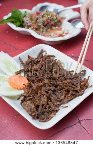 fried mushroom stalk , health , thai-style
