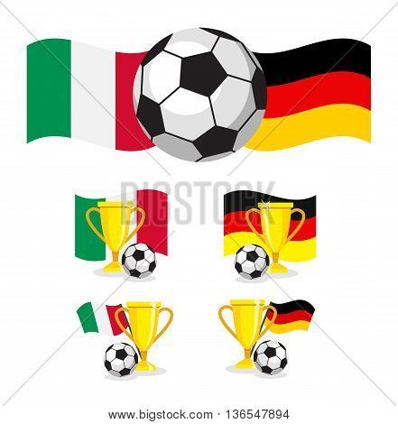 italy vs germany set flag soccer concept on white