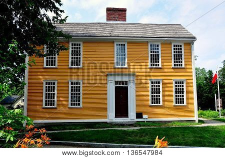 Lexington Massachusetts -July 10 2014: Colonial-era 18th century wood frame  home of patriot and Declaration of Independence signer John Hancock