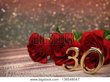 birthday concept with red roses on wooden desk. 3D render - thirtieth birthday. 30th