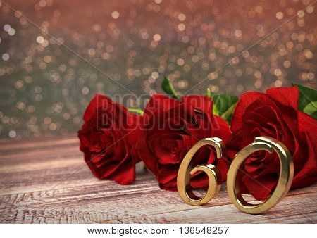 birthday concept with red roses on wooden desk. 3D render - sixtieth birthday. 60th