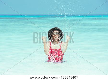 The Woman Playing In The Sea Happily At Koh Tachai,pang-nga
