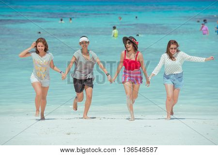 Pang-nga Thailand-2Mar,2015:unidentified People In Action On The Beach At Koh Tachai,pang-nga Thaila
