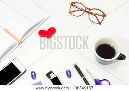Office Desk With Notebook, Mobile Smartphone,glasses Coffee Cup And Office  Equipment