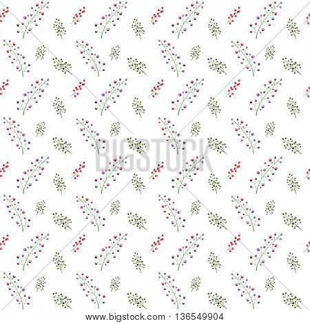 Watercolor illustration of hand painted berries pattern