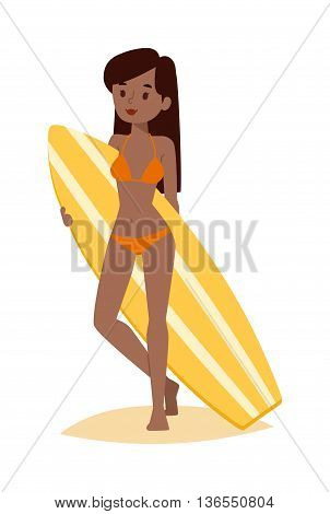 Vector surfing girl standing. Surfing people surfer woman, water sports. Sunny beach water hobby surfing people summer vacation lifestyle. Tropical waves teenager leisure.