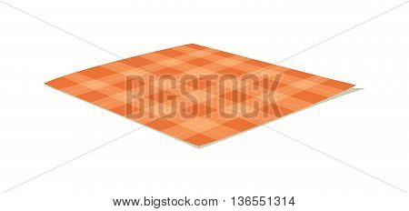 Ffolded tablecloth isolated on white. Tablecloth background pattern. Illustration of traditional gingham dining cloth with fabric texture. Checkered picnic cooking tablecloth.