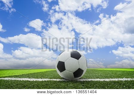 Soccer blue sky background or Football in the blue sky background