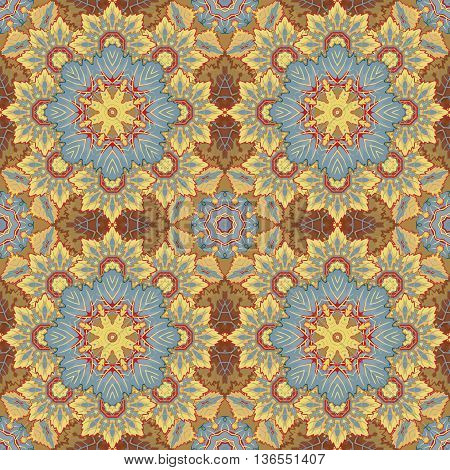 Seamless oriental ornamental pattern. Vector laced decorative background with floral and geometric ornament. Repeating geometric tiles with brown mandala. Indian or Arabic motive. Boho festival style.