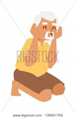 Playing grandfather kneeling vector character. Old caucasian happiness adult father playing grandfather. Playing grandfather lifestyle person laughing joy portrait. Smile elderly play man character.