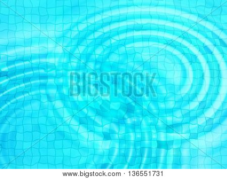 Bright blue tile background with concentric water ripples