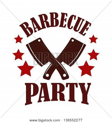 Barbecue logo and grill label, badge and emblem. BBQ logo vector template isolated on white background. Steak house restaurant menu BBQ logo design element. Food logo design.
