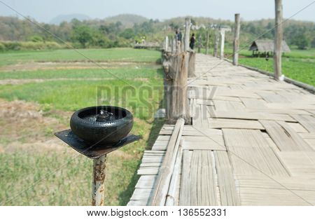 Lamp on Sutongpe bridge on the farm on maehongson province northern of thailand