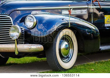 MINSK BELARUS - MAY 07 2016: Close-up photo of black Buick Eight 1940 model year. Old retro classic car. Selective focus.