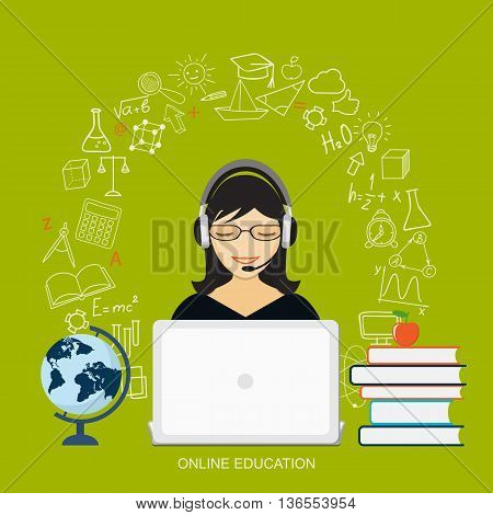 Flat modern design vector illustration concept of online education e-learning with girl laptop book globe and hand drawn icons. eps 10