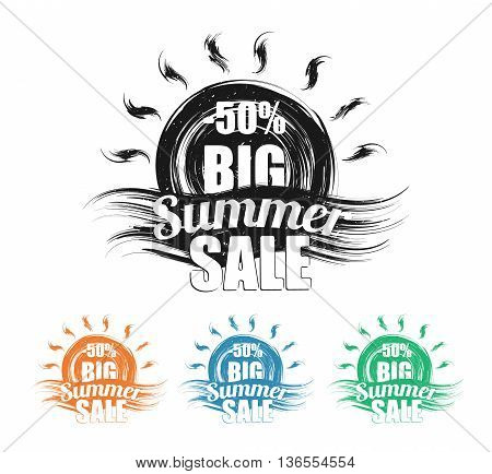 Summer sale black grunge stamp set. Stylized sun and wave symbol on white, Vector illustration.