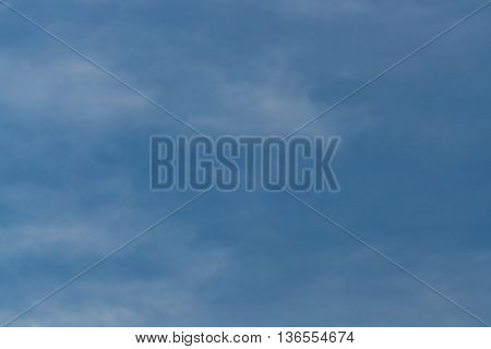 Abstract background of blue skies and wispy white clouds.