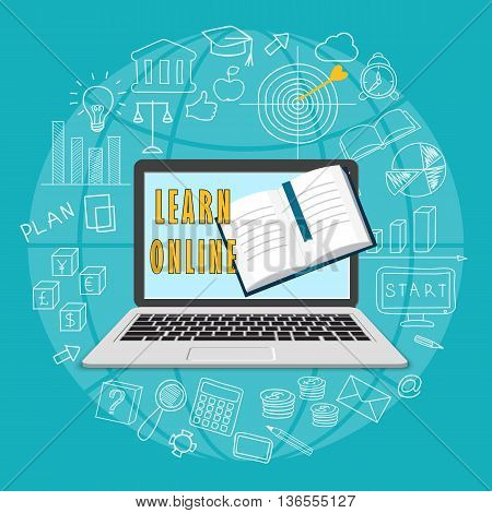 Flat modern design vector illustration concept of business online education e-learning with laptop book and hand drawn symbols. eps 10