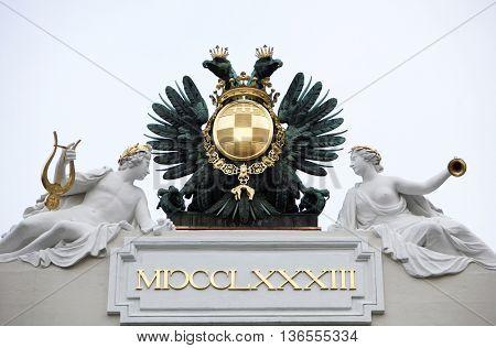 VIENNA, AUSTRIA - DECEMBER 09: Roof top Sculpture at Hofburg Palace, Vienna, Austria, on December 09, 2011.