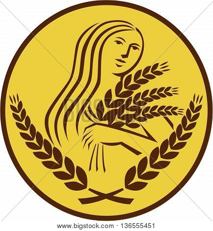 Illustration showing Demeter Greek goddess of the harvest and agriculture who presided over grains and fertility holding wheat grain viewed from front set inside oval shape on isolated background done in retro style.