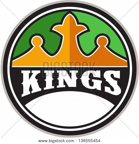 Illustration of a king's crown with the word KINGS in it set on inside circle done in retro style.