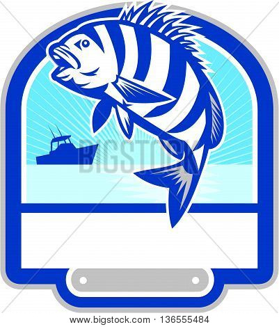 Illustration of a sheepshead (Archosargus probatocephalus) a marine fish jumping up set inside shield crest with fishing boat and sunburst in the background done in retro style.