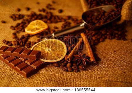 Chocolate and coffee background. Natural. Aroma. Food.