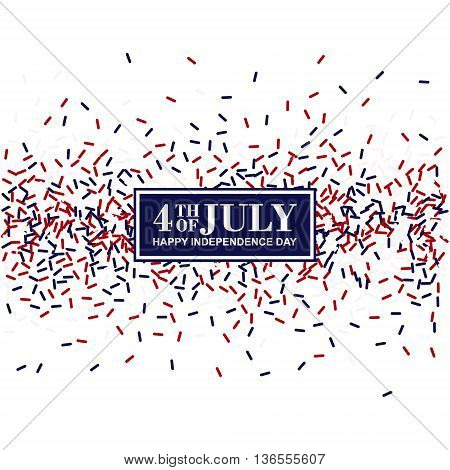 4th of July greeting card. Independence Day conception in traditional American colors - red white blue.
