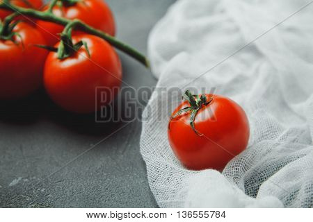 Fresh Grape Tomatoes Cherry For Use As Cooking Ingredients With Copyspace