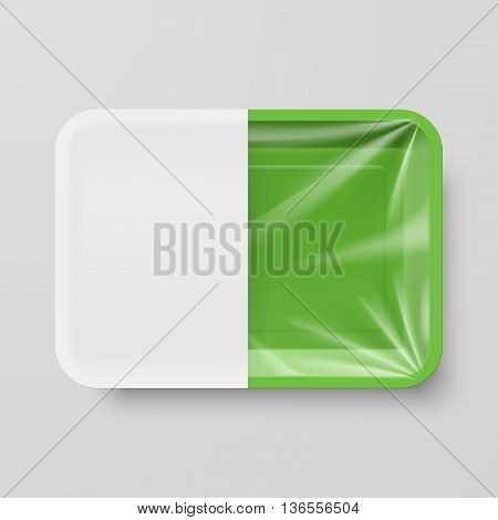 Empty Green Plastic Food Container with White label on Gray Background