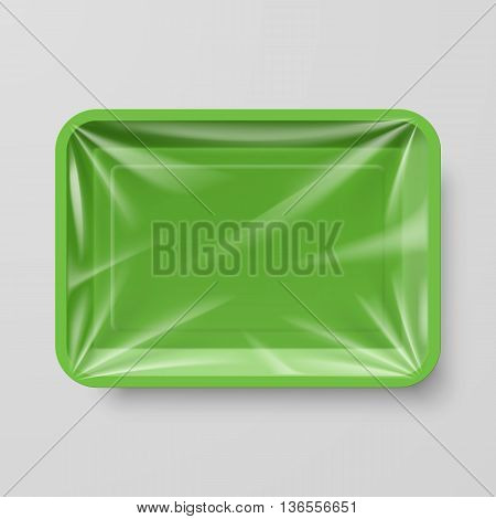 Empty Green Plastic Food Container on Gray