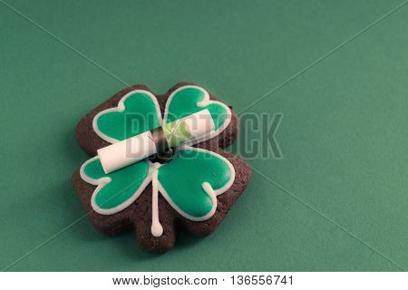 cookies in shape of four clover leaf for St Patrick Day