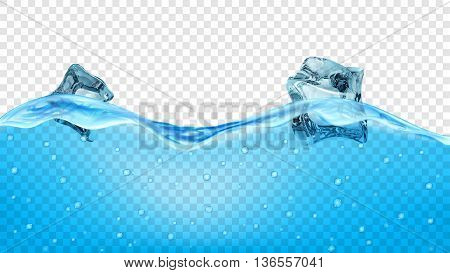Blue Water Waves With Ice Cubes
